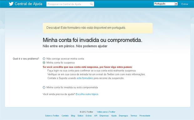 Problema para acessar conta do twitter (Foto reprodução do site)