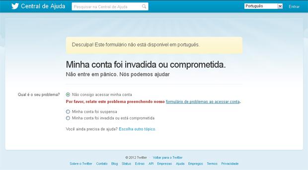 Suspensão de conta do twitter (Foto reprodução do site)