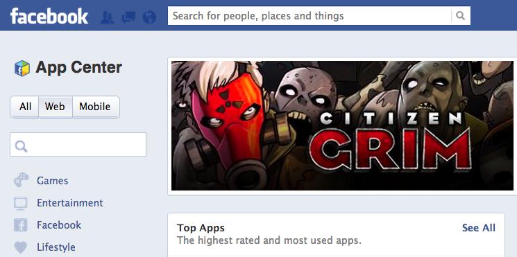 Facebook lançou barra de buscas para o App Center (Foto: Reprodução)