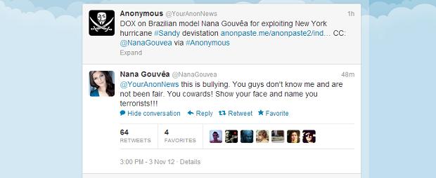 Anonymous divulgou informações pessoais de Nana no Twitter (Foto: Reprodução)