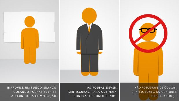 Utilize fundo branco, roupas escuras e não utilize óculos ou adereços (Foto: Reprodução/Adriano Hamaguchi)