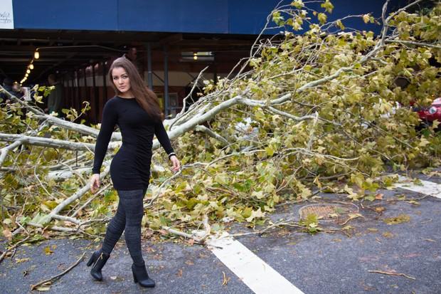 Nana tirou diversas fotos em meio à cidade de Nova York devastada pelo furacão (Foto: Reprodução)