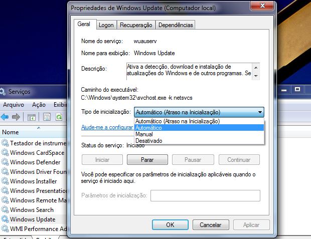 Ativando serviço do Windows Update (Foto: Reprodução/Helito Bijora)