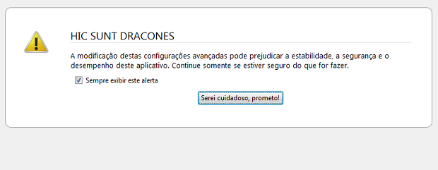 Alerta sobre o perigo de modificar as configurações do Firefox (Foto: Reprodução/Edivaldo Brito)