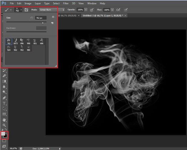 Personalização do brush de fumaça escolhido (Foto: Reprodução/Ramon Martins)