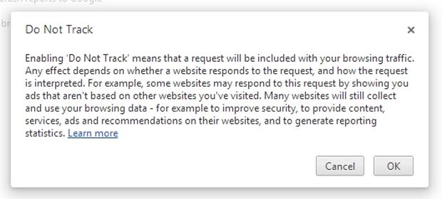 Ao habilitar o DNT, usuário recebe um aviso sobre o funcionamento da ferramenta (Foto: Reprodução)