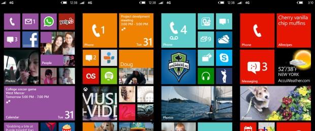 Homescreens do Windows Phone 8.
