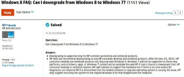 HP não recomenda downgrade do Windows 8 para o 7 (Foto: Reprodução)