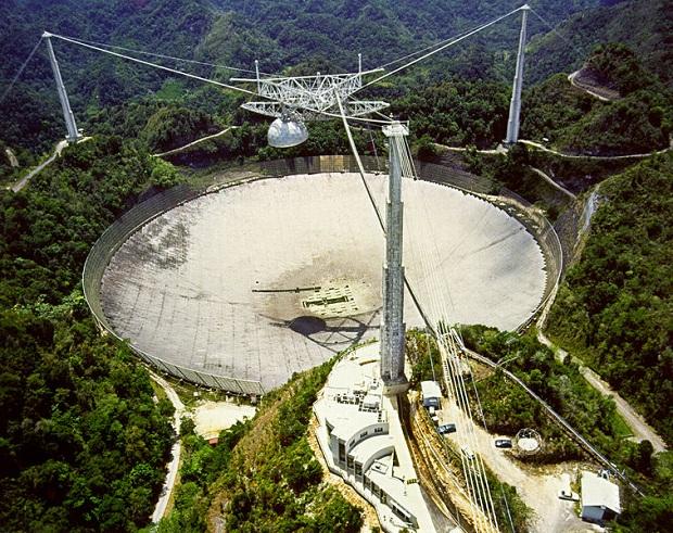 O Observatório de Arecibo, que fica em Porto Rico, é um dos maiores radiotelescópios (Foto: Reprodução/Wikia)