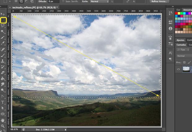 Selecionando a área da imagem que será refletida (Foto: Reprodução/Adriano Hamaguchi)