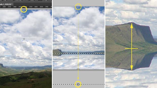 Invertendo a imagem a ser refletida com a ferramenta de transformação livre (Foto: Reprodução/Adriano Hamaguchi)