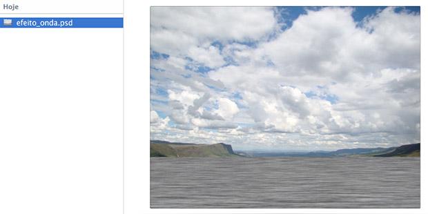 """Selecionando o arquivo """"efeito_ondas.psd"""" que salvamos anteriormente (Foto: Reprodução/Adriano Hamaguchi)"""