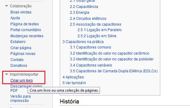 Acessando o criador de livros da Wikipédia (Foto: Reprodução/Edivaldo Brito)