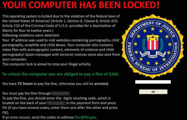 Vírus dizem que usuários estão realizando ações ilegais e precisam pagar por isso (Foto: Reprodução)