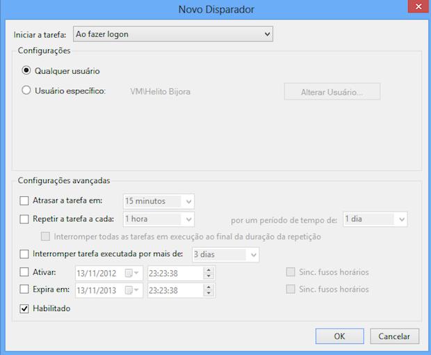 Configurando nova tarefa (Foto: Reprodução/Helito Bijora)