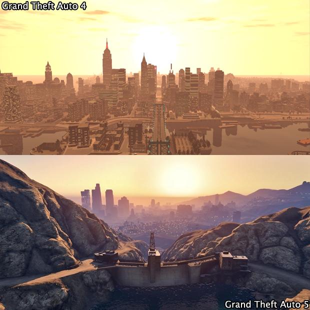 A imensidão de Los Santos em GTA 5 chega a assustar frente à GTA 4 (Foto: GamingBolt)