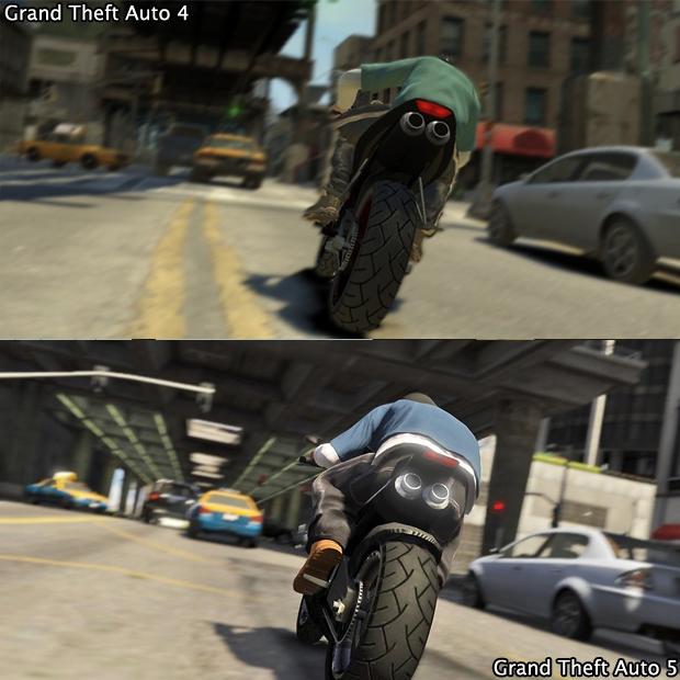 Em cima das motos, GTA 4 e GTA 5 ficam emparelhados graficamente (Foto: GamingBolt)