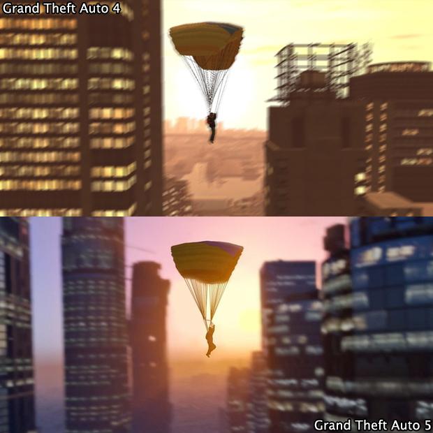 De parapente voando pela cidade, GTA 5 ganha em definição (Foto: GamingBolt)