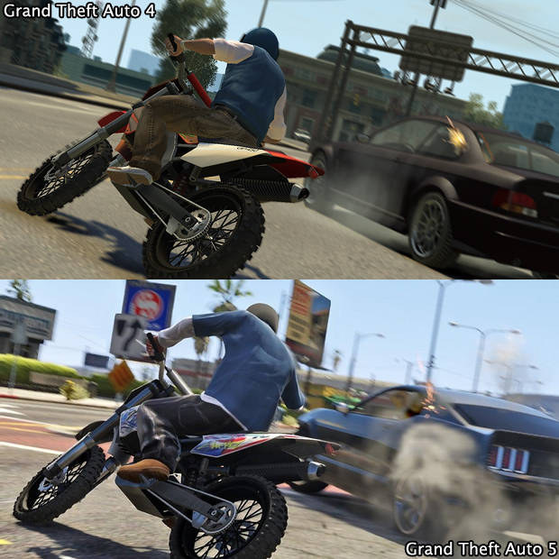 Mais uma vez as motos deixam a disputa acirrada entre GTA 4 e GTA 5 (Foto: GamingBolt)