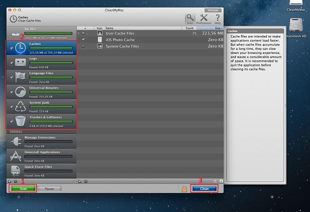 Usando o CleanMyMac para encontrar e apagar arquivos (Foto: Reprodução/Edivaldo Brito)