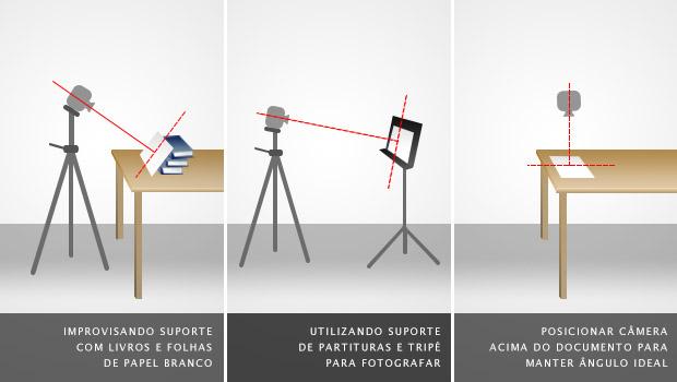 Mantendo o ângulo perpendicular da câmera em relação ao documento inclinado, à esquerda e no meio, ou sobre uma mesa, à direita (Foto: Adriano Hamaguchi)