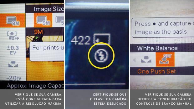 Menu de configuração da resolução à esquerda, status do flash ao meio e controle de branco à direita (Foto: Adriano Hamaguchi)