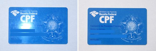 Cartão de CPF fotografado com flash à esquerda, e fotografia sem sem flash à direita (Foto: Adriano Hamaguchi)
