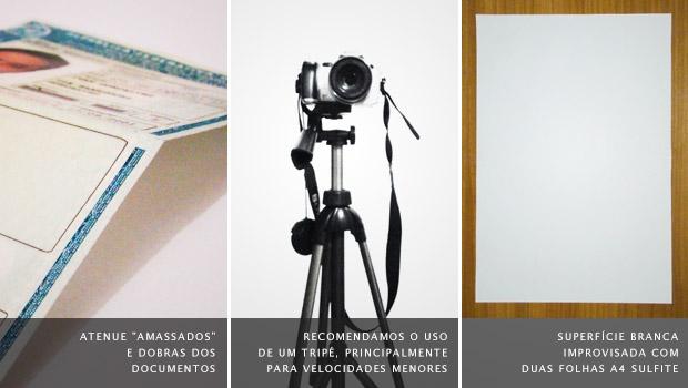 Documento com marca de dobra à esquerda, tripé no meio e duas folha A4 sulfite coladas sobre uma mesa (Foto: Adriano Hamaguchi)