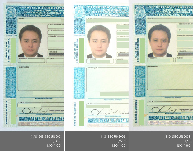 Carteira de habilitação fotografada utilizando três configurações diferentes (Foto: Adriano Hamaguchi)