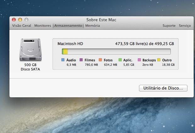 Olhando como está o espaço em disco no Mac (Foto: Reprodução/Edivaldo Brito)