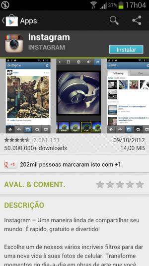 Clique em instalar para baixar o Instagram (Foto: Reprodução/Thiago Barros) (Foto: Clique em instalar para baixar o Instagram (Foto: Reprodução/Thiago Barros))