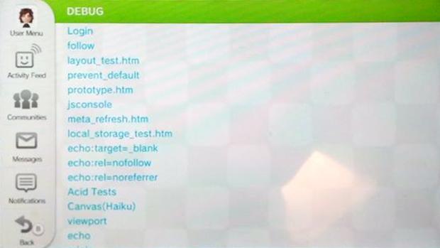 Menu secreto do Wii U mosrava testes da rede Miiverse e possíveis jogos (Foto: Eurogamer)