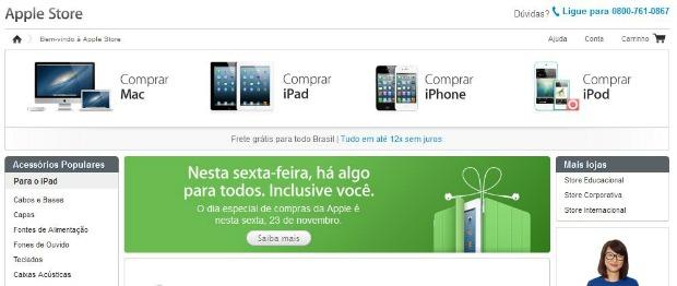 Apple publicou banner na página principal de sua loja anunciando o Black Friday (Reprodução/Thiago Barros)