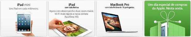 Página principal do Apple.com.br exibe teaser na parte inferior do menu (Foto: Reprodução/Thiago Barros)