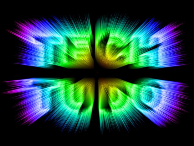 Texto com o efeito de raios multicoloridos feito no Photoshop (Foto: Reprodução/André Sugai)