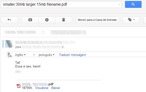Pesquisando mensagens de um determinado tamanho e com anexos de um determinado tipo no Gmail (Foto: Reprodução/Ricardo Fraga)