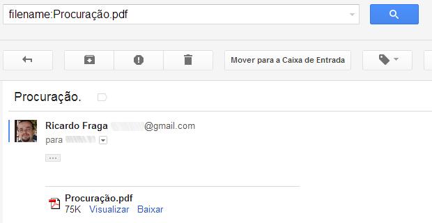 Pesquisando mensagens com anexos de um determinado tipo no Gmail (Foto: Reprodução/Ricardo Fraga)