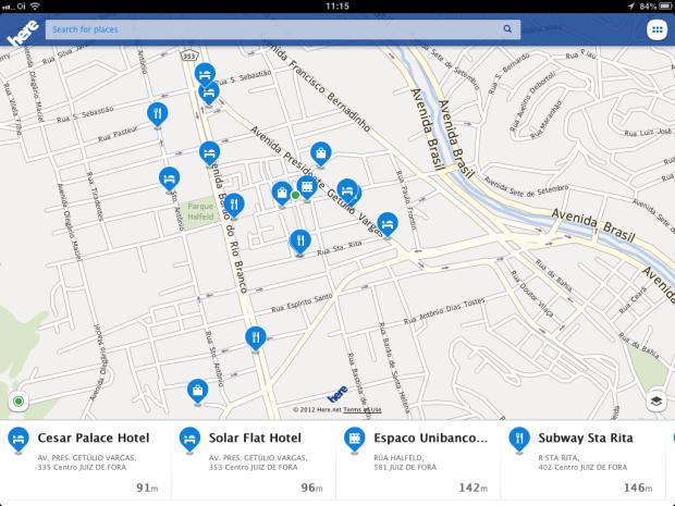 Nokia HERE exibe estabelecimentos comerciais de maneira similar ao Foursquare (Foto: Reprodução/Ricardo Fraga)