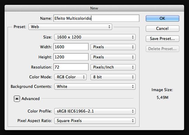 Box para criação de um novo documento no Photoshop. Neste tutorial, trabalharemos com uma imagem de 1600 x 1200 px (Foto: Reprodução/André Sugai)