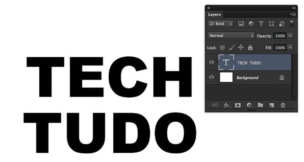 """""""TechTudo"""" escrito usando a ferramenta de Texto Horizontal (Foto: Reprodução/André Sugai)"""