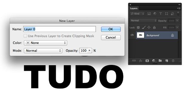 """Box para criação de uma nova camada, aqui chamada de """"Layer 0"""". O processo """"destrava"""" a camada de fundo para edições (Foto: Reprodução/André Sugai)"""