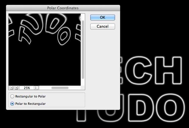 """Box do filtro """"Coordenadas Polares"""", que distorce a imagem (Foto: Reprodução/André Sugai)"""