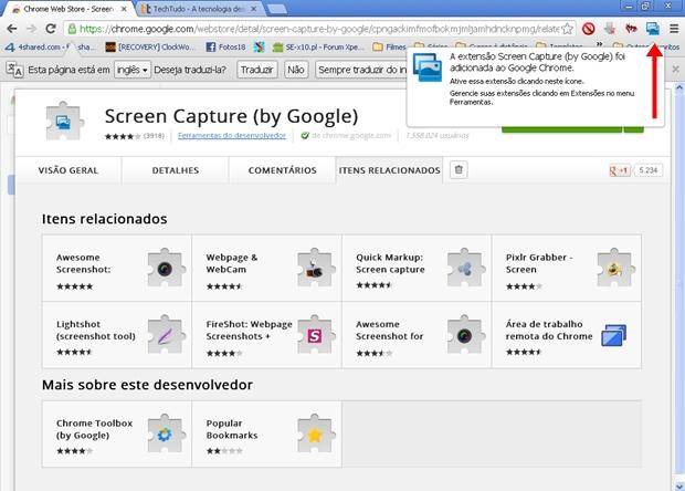 CUm ícone é adicionado a barra de ferramentas do Google Chrome (Foto: Reprodução/Aline Ferreira)
