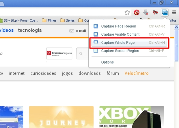 """Clique na opção """"Capture Whole Page"""" para capturar toda a página da web (Foto: Reprodução/Aline Ferreira)"""