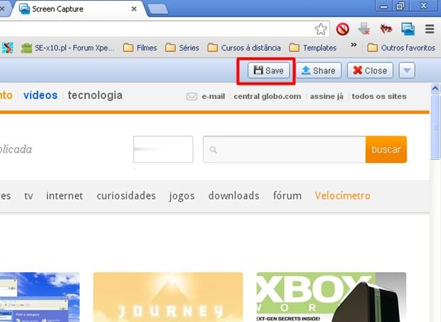 """Clique em """"Save"""" para salvar seu printscreen (Foto: Reprodução/Aline Ferreira)"""