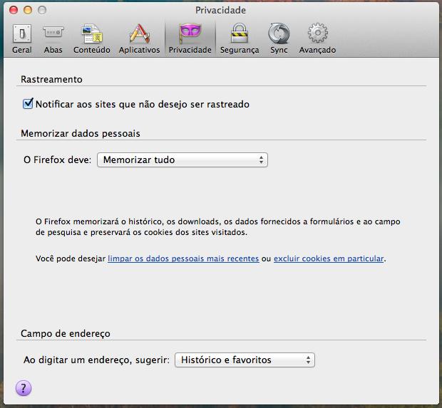 Opções de privacidade do Firefox (Foto: Reprodução/Helito Bijora)