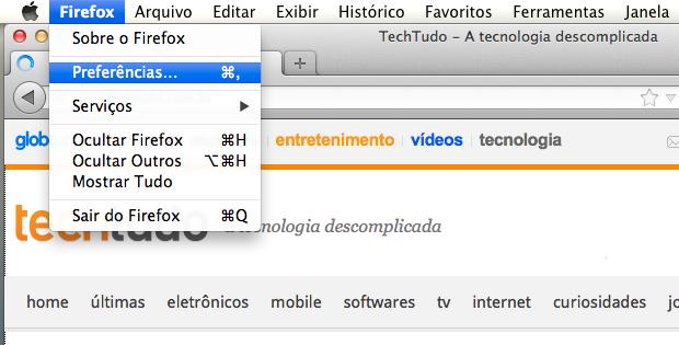 Acessando as configurações do Firefox (Foto: Reprodução/Helito Bijora)