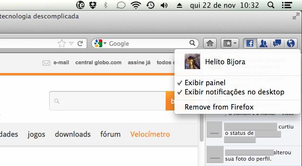 Configurações do Facebook para Firefox (Foto: Reprodução/Helito Bijora)