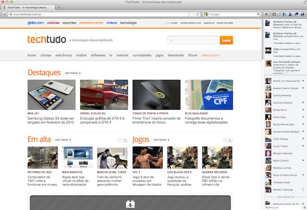 Facebook integrado ao Firefox (Foto: Reprodução/Helito Bijora)