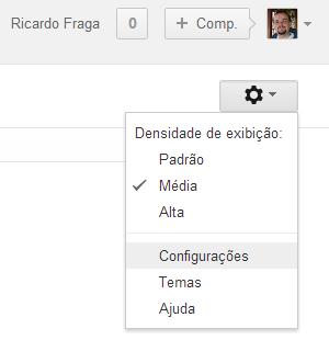 Acessando as configurações do Gmail (Foto: Reprodução/Ricardo Fraga)